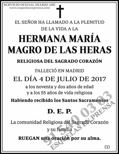 Hermana María Magro de las Heras